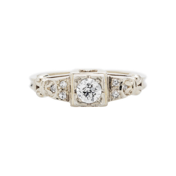 Adorable and authentic Late Art Deco 18k White Gold and Diamond Engagement Ring | Cottage Grove