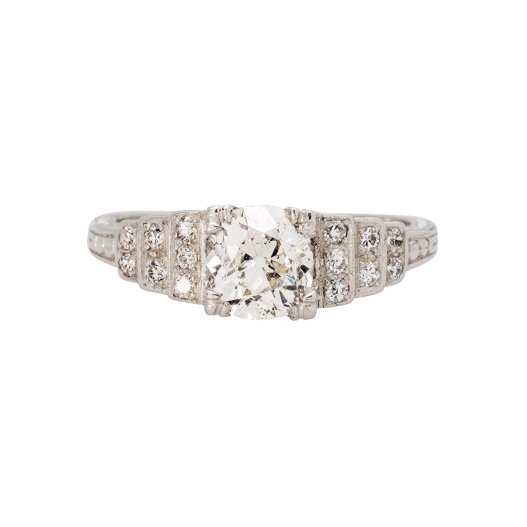 A Wonderful Authentic Geometric Art Deco Diamond Engagement Ring