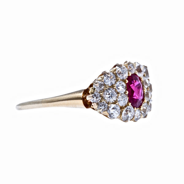 Crawford Court | Authentic Victorian Era 18k yellow gold ruby and diamond cluster ring