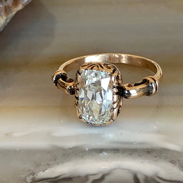 Magnificent Antique Cushion Cut Diamond and 18k Rose Gold Vintage Engagement Ring | Deephaven