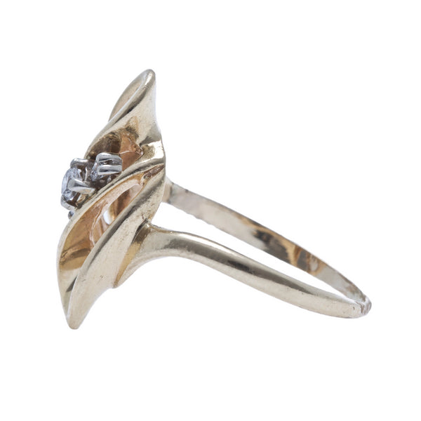 A Whimsical 14k Yellow Gold and Diamond Swirl Ring from the 1970's | Delton