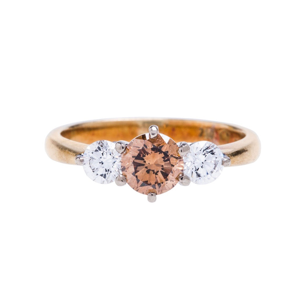 An Amazing Three Stone Fancy Colored Diamond Engagement Ring