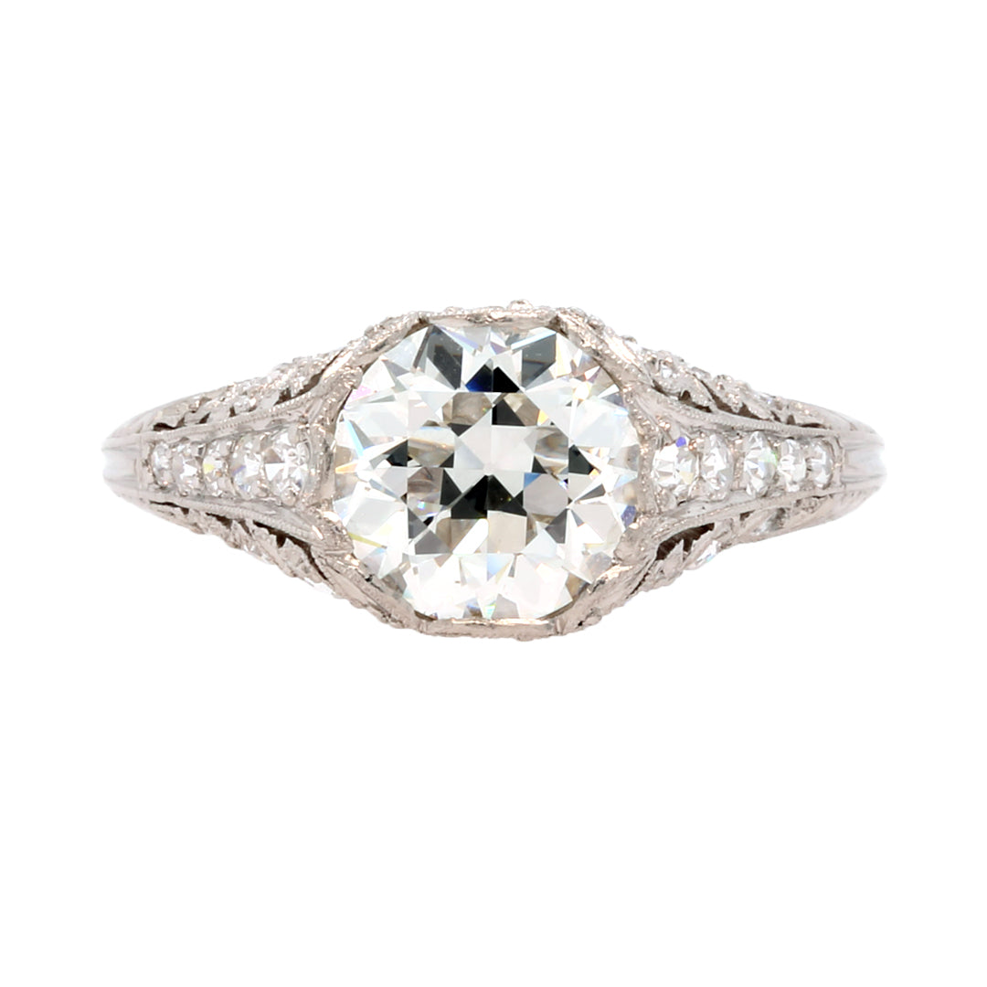 A Magnificent and Authentic Edwardian Era Platinum and Diamond Engagement Ring