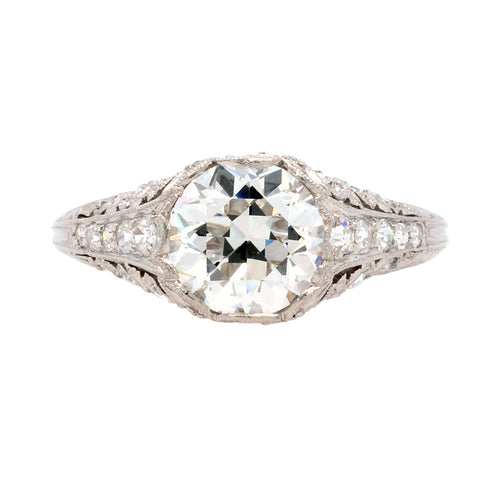 Magnificent and Authentic Edwardian Era Platinum and Diamond Engagement Ring | Fairmount