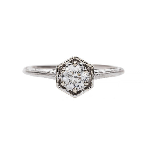 Art Deco Inspired Solitaire Engagement Ring