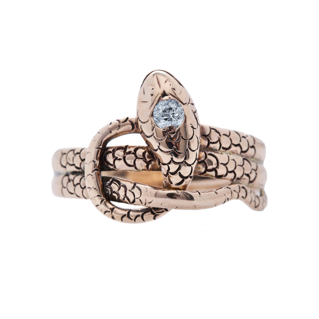 Amazing And Authentic Victorian era 18k Rose Gold and Diamond Snake Ring | Garstill