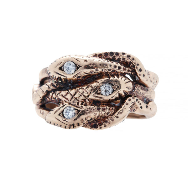 Unusual and Authentic Victorian Era 10k Rose Gold and Diamond Ring | Garston