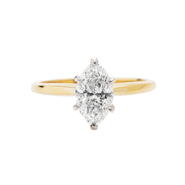 A timeless Authentic Yellow gold Marquise Cut Diamond Ring