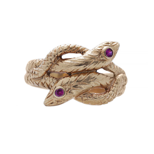 A Retro Era 18k Yellow gold and Ruby Snake Ring | Garwood