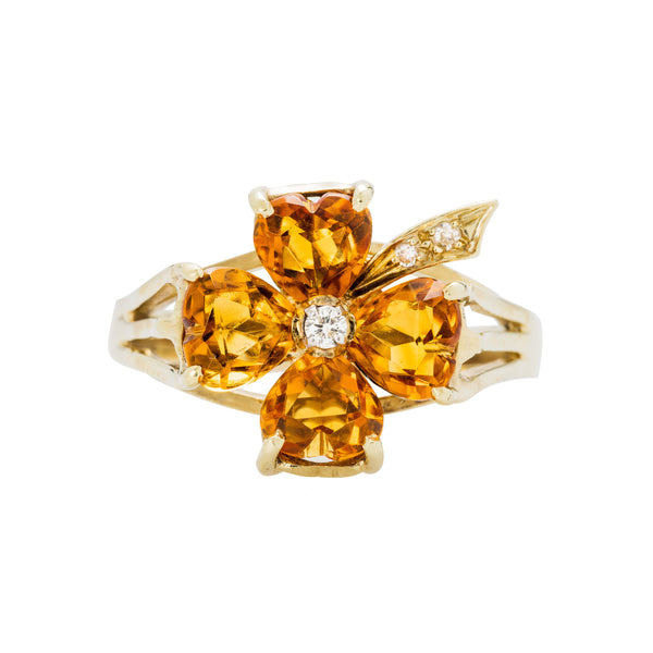 Golden Glen is an authentic retro-era citrine and diamond cocktail ring