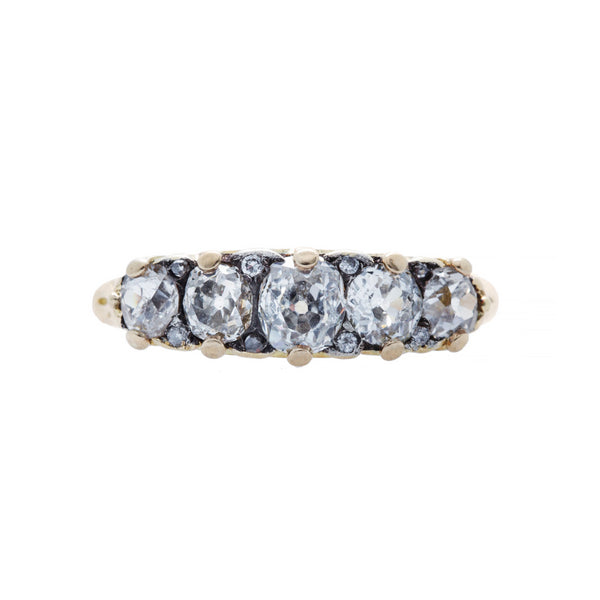 An Elegant and Authentic Victorian era 18k Yellow Gold and Diamond Five Stone Ring | Grenly