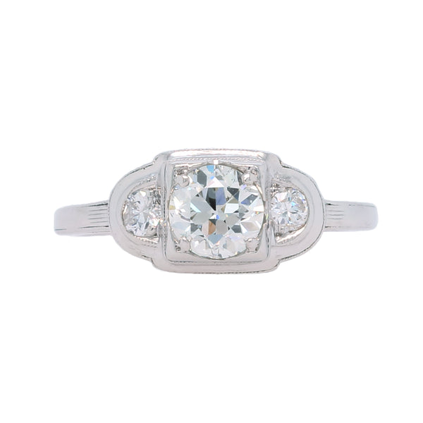 Classic and Authentic Late Art Deco Platinum and Diamond Three-Stone Engagement Ring | Hapfield