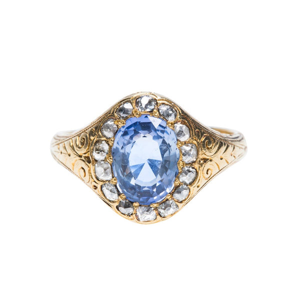 Incredible Victorian Yellow Gold, Unheated Sapphire and Diamond Halo Ring