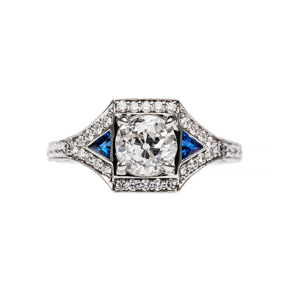 Geometric Art Deco Diamond and Sapphire Ring | Hermosa