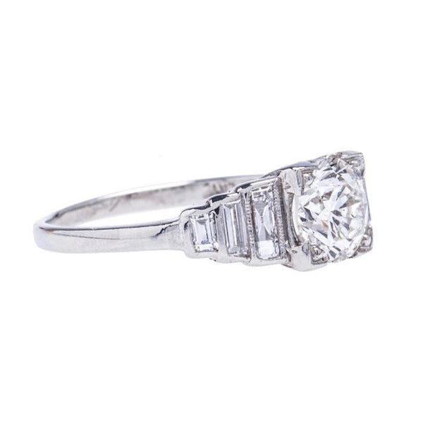 Fabulous and Authentic Art Deco Platinum and Diamond Engagement Ring