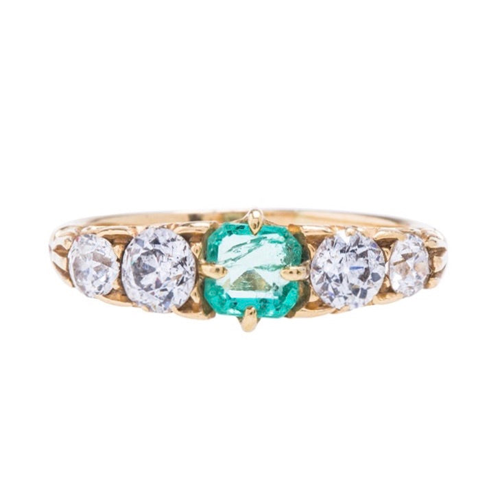 An Elegant and Authentic Victorian Era Emerald and Diamond Ring
