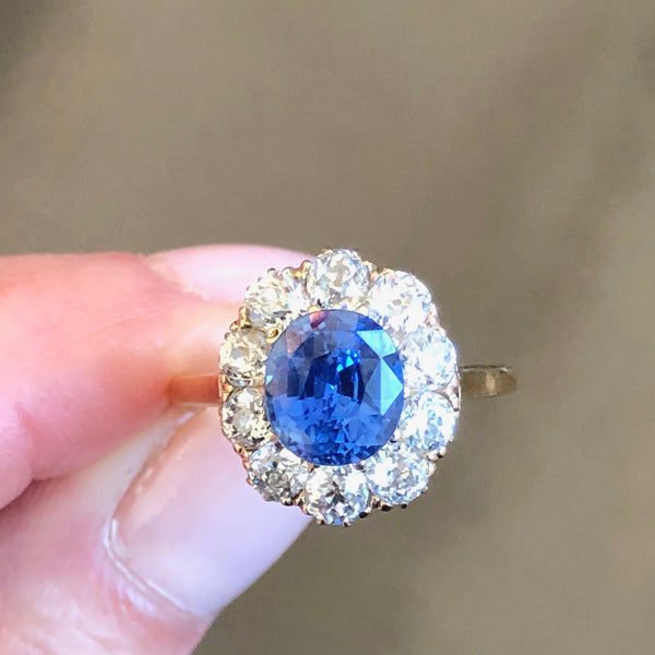 Yellow Gold Victorian Era Sapphire & Diamond Cluster Ring - 10014237