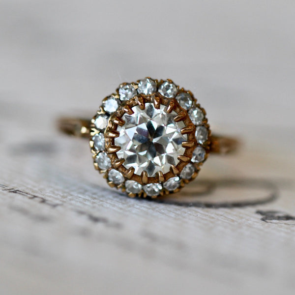 A Magnificent Vintage Inspired 18k Rose Gold and Diamond Halo Ring | Amberwood