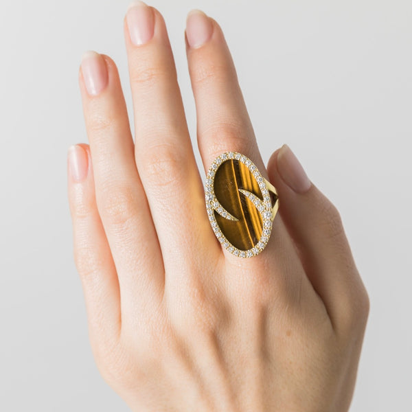 Vintage Tiger's Eye Cocktail Ring on Hand | Kalbarri