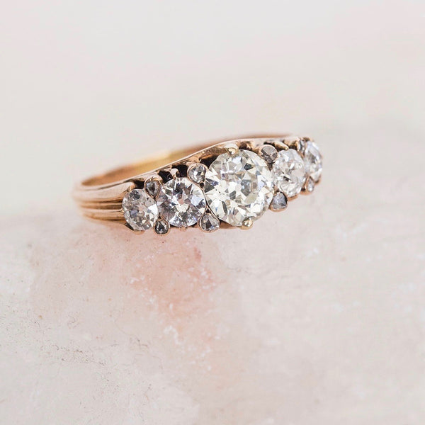 Authentic Victorian Era 5 diamond 18k yellow gold engagement ring circa 1890
