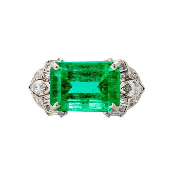 Kentshire | Art Deco Colombian Emerald Diamond Platinum Engagement Ring