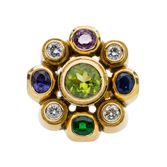 A Funky Yellow Gold, Diamond and Gemstone Cocktail Ring | Piccadilly Circus