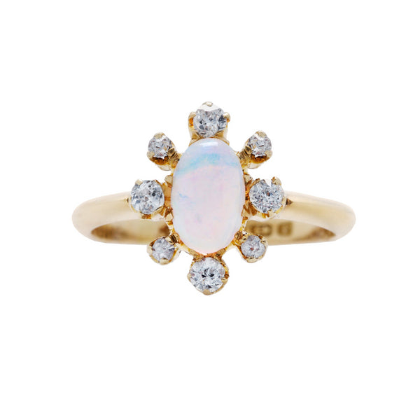 Victorian 18k Yellow Gold Opal and Diamond Ring | Lambwell