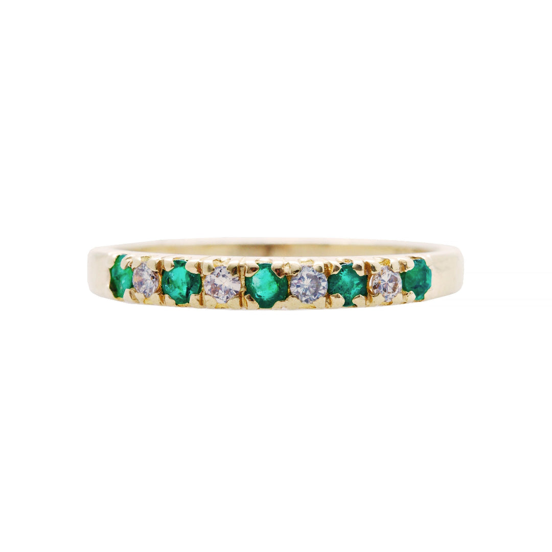 A Pretty Modern Era 14k Yellow Gold, Emerald and Diamond Band