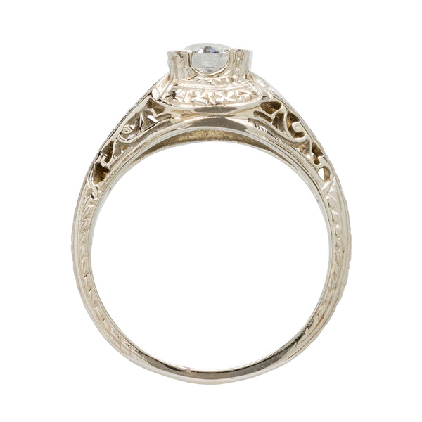A pretty 18k white gold and diamond authentic Art Deco engagement ring