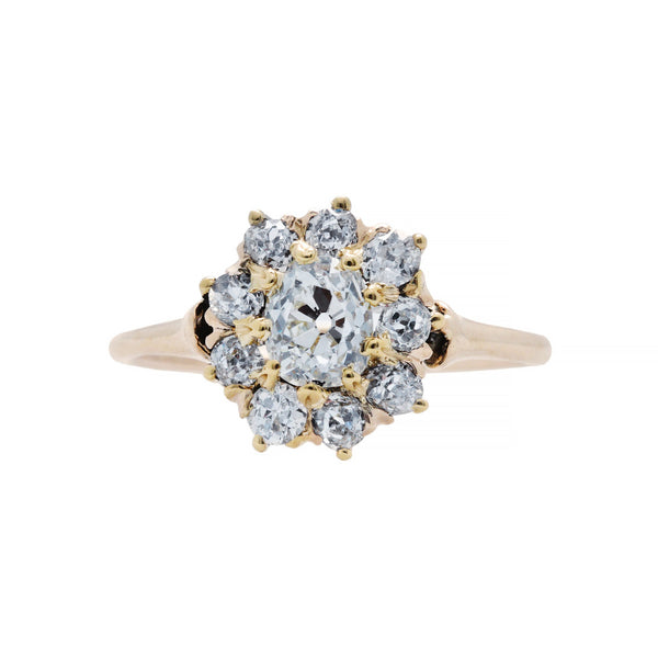 An Adorable and Authentic Victorian era 14k Yellow Gold and Diamond Cluster Ring