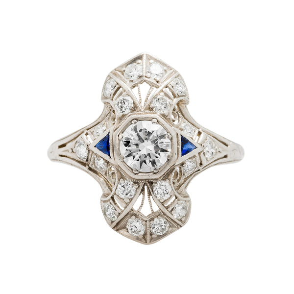 A Fabulous Authentic Art Deco Platinum Sapphire and Diamond Navette Ring
