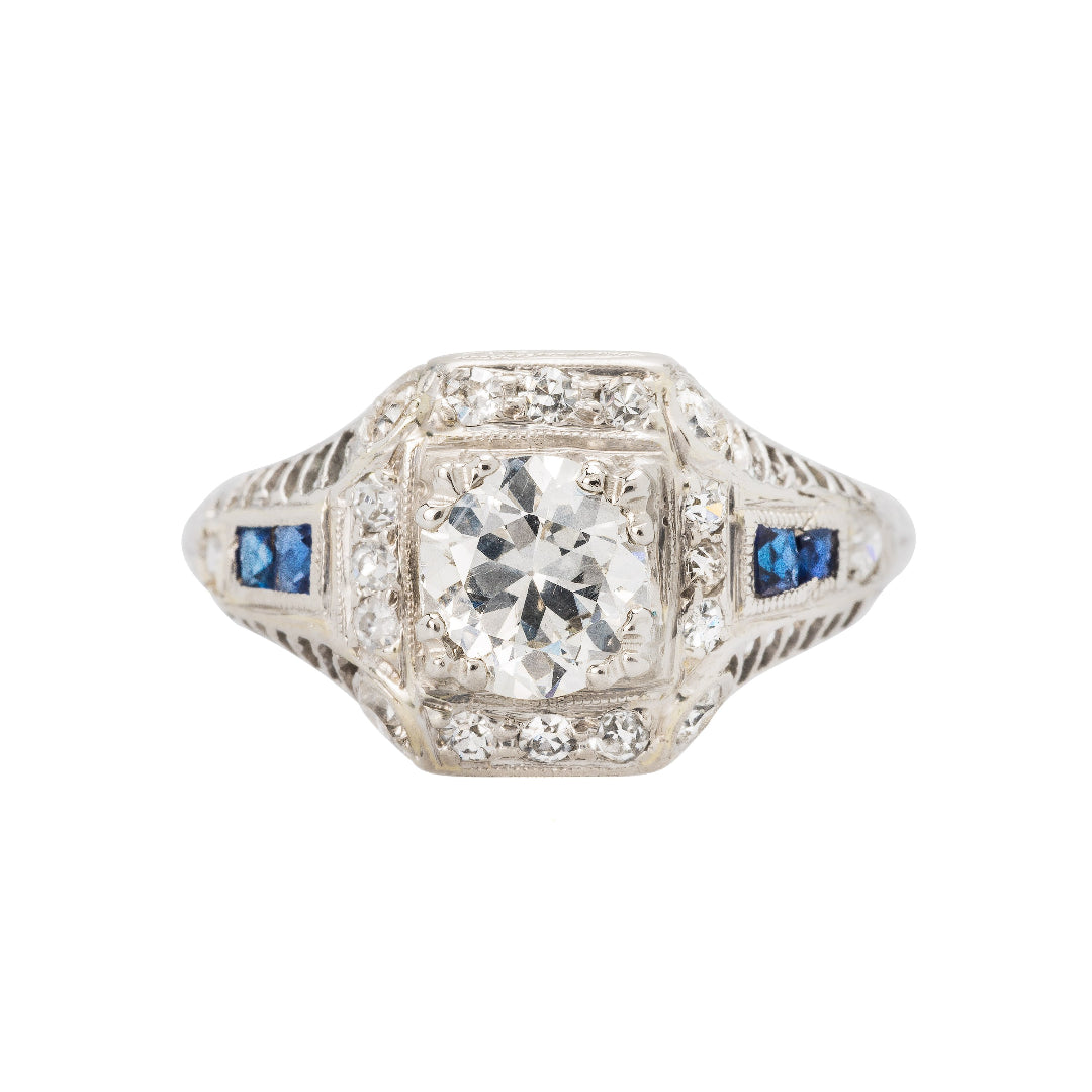 Art Deco Engagement Ring with Sapphire Accents