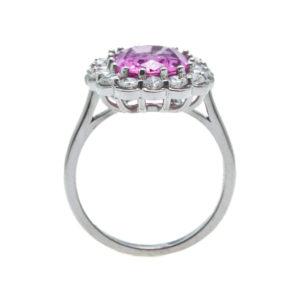 A Delightful Contemporary Pink Topaz and Diamond Halo Ring | Miramar