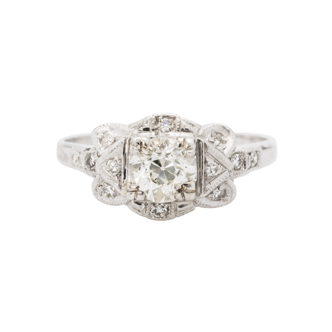 Decadent Authentic Art Deco and Diamond Engagement Ring | Montemar
