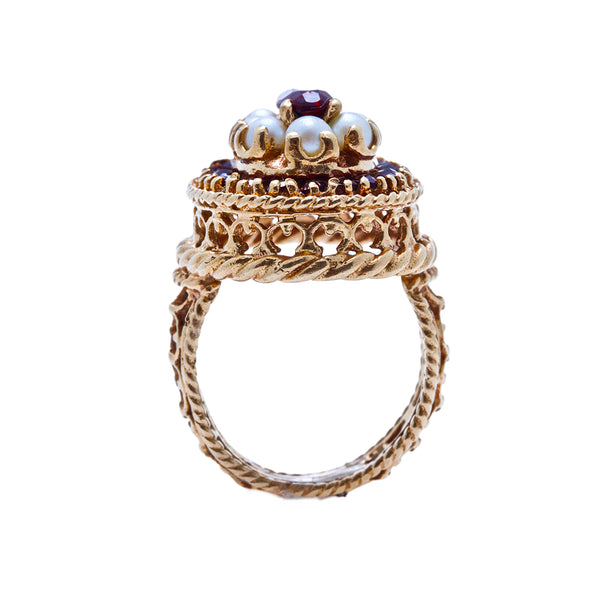 A Charming 1960's Vintage 14K Yellow Gold, Pearl and Garnet Ring | Moreland