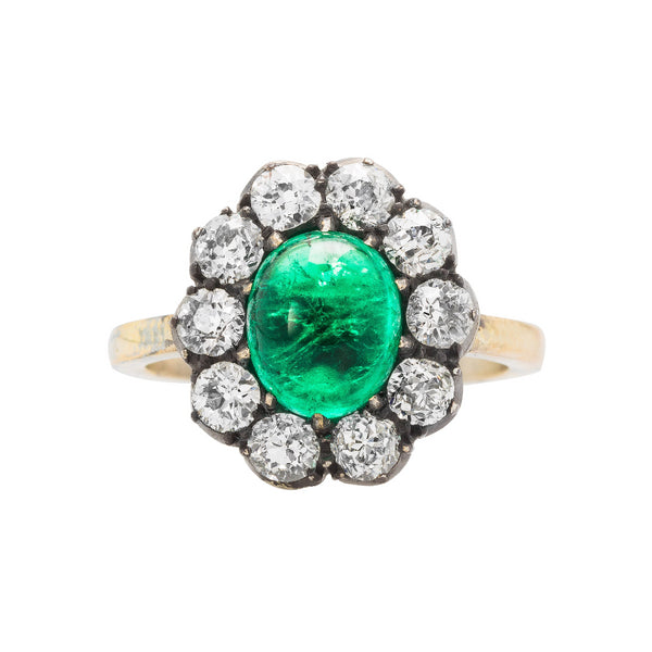 Cabochon Cut Emerald Engagement Ring