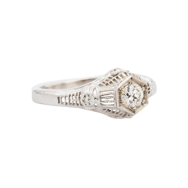 Edwardian era inspired 18kt white gold diamond engagement ring