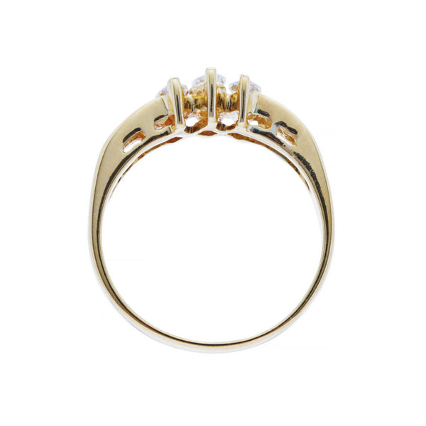 A Unique Modern 18 Karat Yellow Gold and Marquise Diamond Ring | Ocotillo