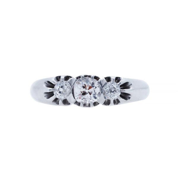 A Charming and Authentic Art Deco Platinum and Diamond Three Stone Ring | Olmwood