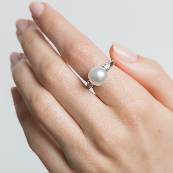 vintage platinum pearl and diamond cocktail ring