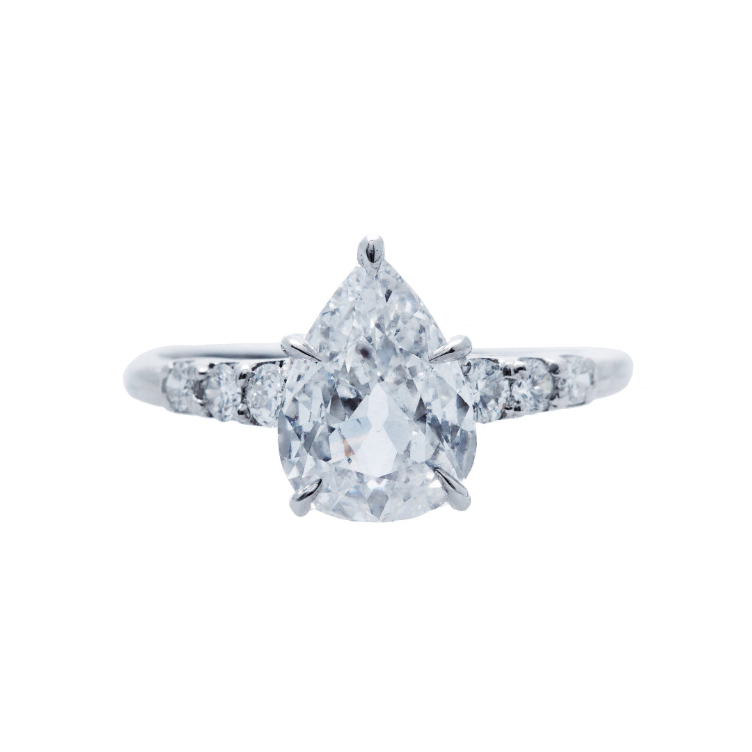 Fabulous and Authentic Art Deco Pear Shaped Diamond Antique EngagementRing | Palm Beach