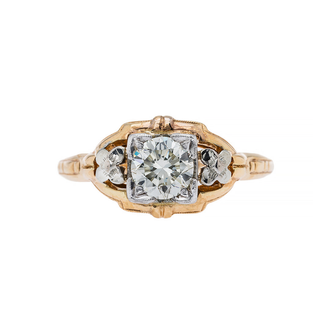 Retro Era Mixed Metal Engagement Ring | Paloma Lane