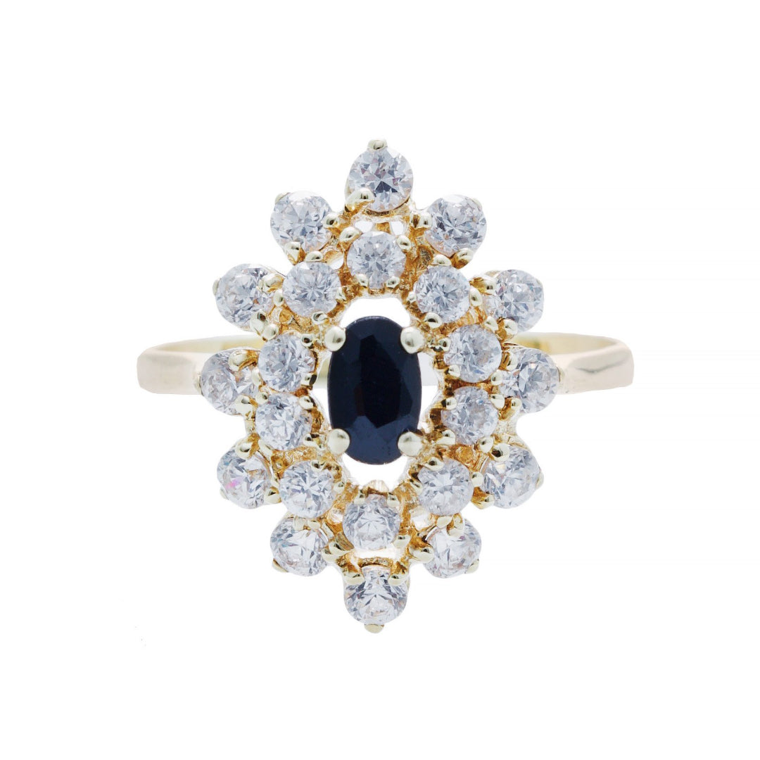 A Pretty Modern 18k Yellow Gold Sapphire and Diamond Snowflake Halo Ring