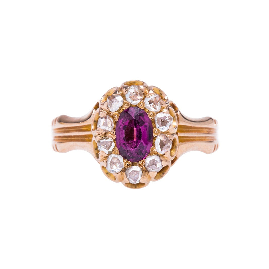 Timeless Authentic Victorian Era Garnet and Diamond Ring | Pillimore