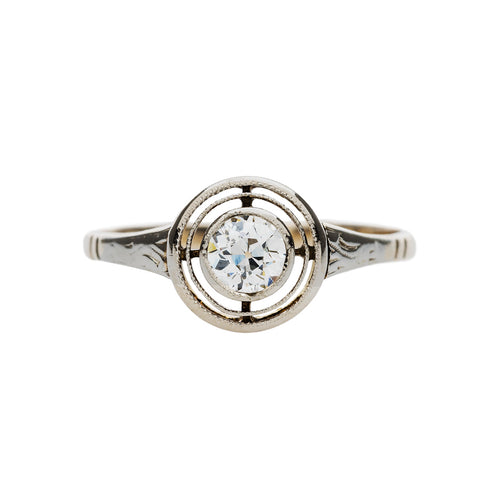 Lovely Edwardian Ring with Double Halo | Point View