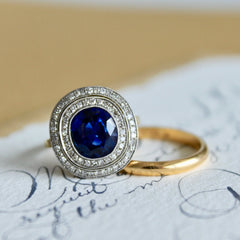 Magnificent Vintage Inspired Platinum and 18k Yellow Gold, Sapphire and Diamond Vintage Engagement Ring | Providence