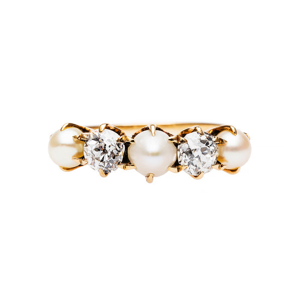 Victorian Pearl and Diamond Engagement Ring