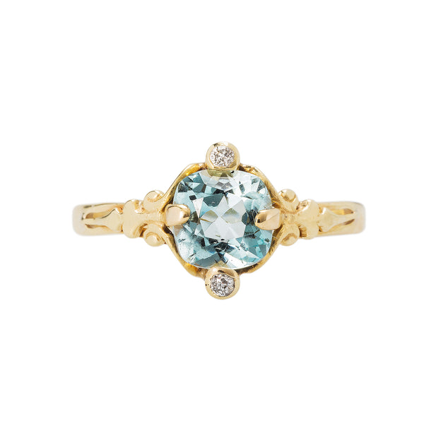 A Sweet authentic Art Nouveau Aquamarine and Diamond Ring