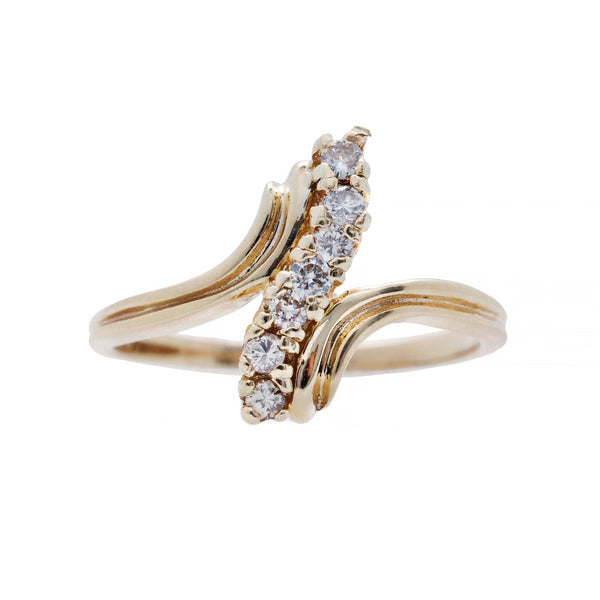 A Chic 1970's 14k Yellow Gold and Diamond Ring