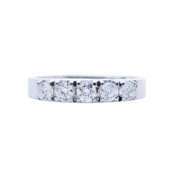 A Classic 14k White Gold and Diamond Modern Band | Ross Bay